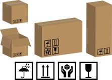 Caixas e ícones de empacotamento do vetor Imagem de Stock