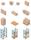 Caixas e shelving do vetor Fotografia de Stock