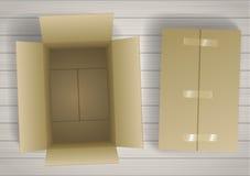 Caixas fechados e abertas Fotografia de Stock