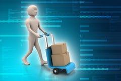 caixas levando do homem com um trole Foto de Stock
