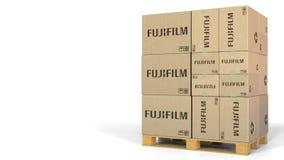 Caixas múltiplas com logotipo de Fujifilm Rendição 3D editorial ilustração do vetor