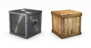 Caixas metálicas e de madeira Imagem de Stock Royalty Free