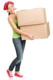 Caixas moventes carreg da mulher Fotografia de Stock