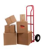 Caixas moventes com etiquetas frágeis Fotografia de Stock
