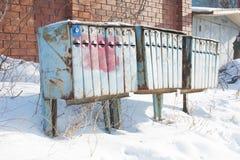 Caixas postais antigas coloridas Fotografia de Stock