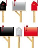 Caixas postais ao ar livre em três cores diferentes Foto de Stock Royalty Free