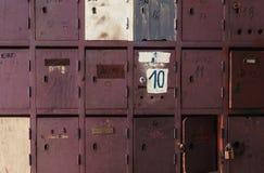 Caixas postais de madeira velhas Fotos de Stock