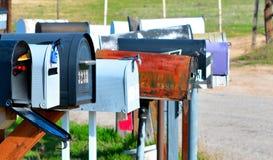 Caixas postais em uma estrada secundária Fotografia de Stock
