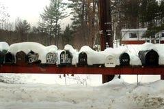 Caixas postais na neve Fotos de Stock