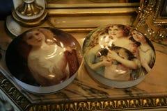 Caixas redondas da jóia da porcelana imagens de stock royalty free