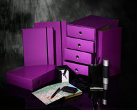 Caixas roxas Foto de Stock