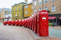 Caixas vermelhas inglesas do telefone em Londres Foto de Stock Royalty Free