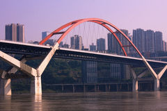 Caiyuanba Yangtze River Bridge in Chongqing Royalty Free Stock Photo