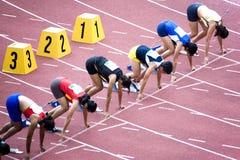 Cañizos del 100m de las mujeres Imágenes de archivo libres de regalías