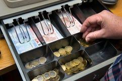 Cajón con el dinero imagenes de archivo