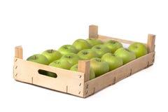 Cajón con las manzanas verdes Imagen de archivo libre de regalías