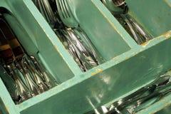 Cajón de los cubiertos de la vendimia Fotografía de archivo libre de regalías