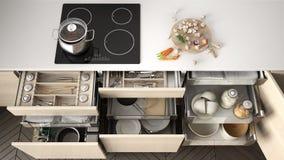 Cajón de madera abierto de la cocina con los accesorios dentro, solución f stock de ilustración