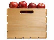 Cajón de manzanas rojas Imagen de archivo