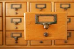 Cajón de tarjeta de biblioteca Fotografía de archivo