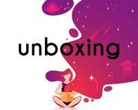 Caja abierta de la muchacha en estilo plano Ejemplo del vector del personaje de dibujos animados Fotografía de archivo