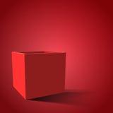 Caja abierta del rojo con las sombras realistas Ejemplo EPS 10 Foto de archivo