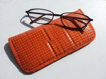 Caja anaranjada de la lente con los vidrios en el fondo blanco Fotografía de archivo libre de regalías