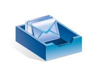 Caja azul con las cartas Fotografía de archivo libre de regalías