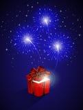 Caja azul del fuego artificial y de regalo Fotos de archivo libres de regalías