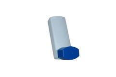 Caja azul del inhalador del asma Fotos de archivo libres de regalías