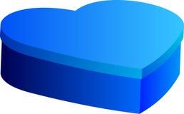 Caja azul en forma del corazón Imágenes de archivo libres de regalías