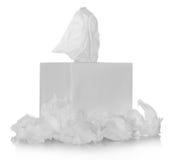 Caja blanca con el papel seda Fotografía de archivo libre de regalías