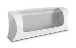 Caja blanca del paquete del producto con la ventana Imagen de archivo