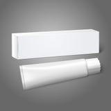 Caja blanca realista del paquete del papel en blanco con el tubo Fotografía de archivo libre de regalías