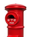 Caja clásica roja de los posts del estilo japonés stock de ilustración