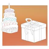Caja coloreada de la torta y de regalo con la cinta por Año Nuevo, la Navidad y el cumpleaños libre illustration