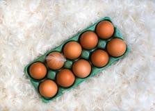Caja con diez huevos marrones en la pila de blanco Fotografía de archivo