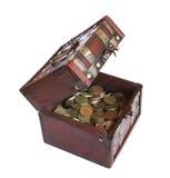 Caja con el dinero del oro Imágenes de archivo libres de regalías