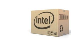 Caja con el logotipo de Intel Representación editorial 3D ilustración del vector