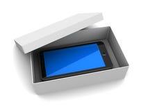 Caja con el teléfono Fotos de archivo