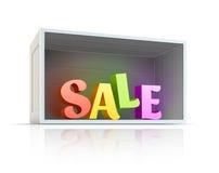 Caja con el texto de la venta dentro Foto de archivo libre de regalías