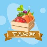 Caja con la cosecha vegetal Eco que cultiva a Logo Concept Foto de archivo libre de regalías