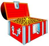 Caja con la moneda brillante del oro (en) ilustración del vector
