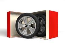 Caja con la representación de la rueda 3d ilustración del vector