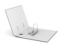 Caja con las carpetas vacías aisladas en el fondo blanco 3d rinden los cilindros de image Imagen de archivo libre de regalías