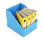 Caja con las carpetas vacías aisladas en el fondo blanco 3d rinden i Imagenes de archivo