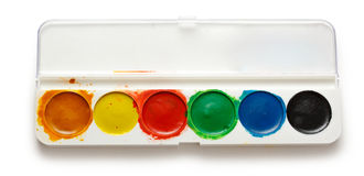 Caja con las pinturas del color de agua Imagen de archivo libre de regalías