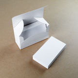 Caja con las tarjetas de visita en blanco Fotografía de archivo libre de regalías