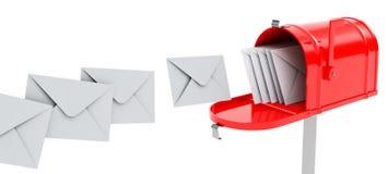 Caja con los correos ilustración del vector