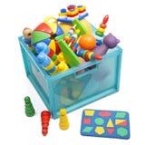 Caja con los juguetes Fotos de archivo libres de regalías